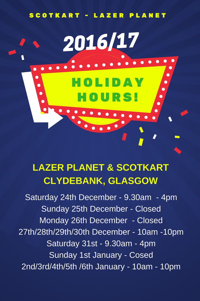 laser tag clydebank glasgow festive holiday opening hours